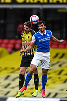 20th March 2021; Vicarage Road, Watford, Hertfordshire, England; English Football League Championship Football, Watford versus Birmingham City; Dan Gosling of Watford competes for the ball with Maxime Colin of Birmingham City.