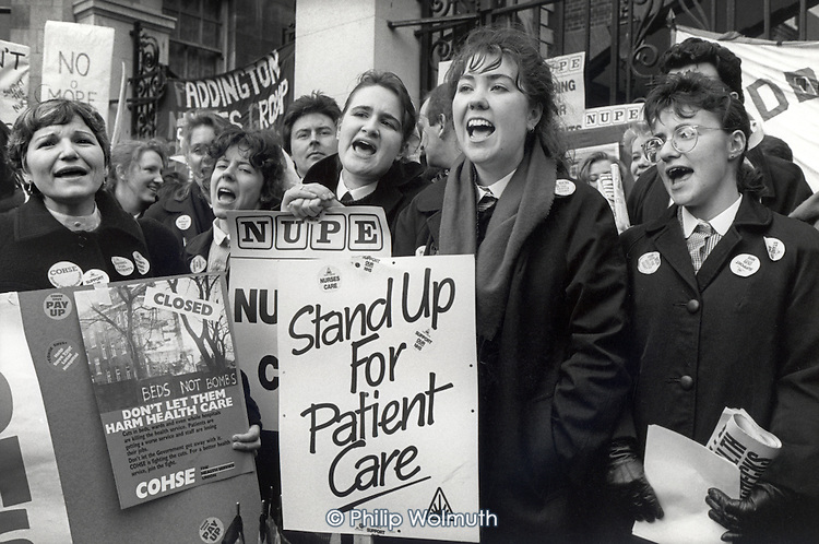 Nurses at St.Mary's Hospital, London, demonstrate on a national Day of Action against Conservative Government NHS cuts.