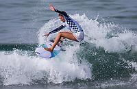 Huntington Beach, CA - Saturday August 4, 2018: Malia Manuel in action during a World Surf League (WSL) World Championship Tour (WCT) Round 3 heat at the 2018 Vans U.S. Open of Surfing on South side of the Huntington Beach pier.