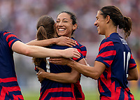 EAST HARTFORD, CT - JULY 5: Tobin Heath #7 celebrates a goal with Christen Press #11 of the USWNT during a game between Mexico and USWNT at Rentschler Field on July 5, 2021 in East Hartford, Connecticut.