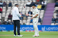 Richard Illingworth, Umpire returns the ball to Neil Wagner, New Zealand following the letters request about its condition during India vs New Zealand, ICC World Test Championship Final Cricket at The Hampshire Bowl on 19th June 2021