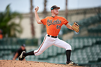 Baltimore Orioles pitcher Jake Zebron (65) delivers a pitch during a Florida Instructional League game against the Boston Red Sox on October 8, 2018 at the Ed Smith Stadium in Sarasota, Florida.  (Mike Janes/Four Seam Images)