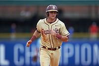 Hank Truluck (15) of the Florida State Seminoles rounds the bases as he scores on a home run by Drew Mendoza (not pictured) during the game against the North Carolina Tar Heels in the 2017 ACC Baseball Championship Game at Louisville Slugger Field on May 28, 2017 in Louisville, Kentucky. The Seminoles defeated the Tar Heels 7-3. (Brian Westerholt/Four Seam Images)