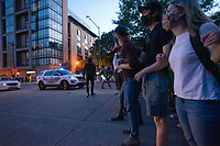 Protestors link arms as police approach to disperse the gathering in Washington, D.C., U.S., on Monday, June 1, 2020, following the death of an unarmed black man at the hands of Minnesota police on May 25, 2020.  More than 200 active duty military police were deployed to Washington D.C. following three days of protests.  Credit: Stefani Reynolds / CNP/AdMedia