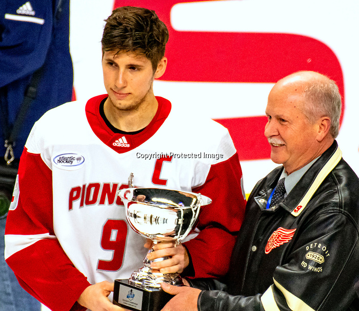 January 26, 2020: Sacred Heart captain Jason Cotton was the MVP of the Connecticut Ice Tourney as Sacred Heart prevailed 4-1 upsetting the 17th ranked Bobcats. The inaugural event was held at the Webster Bank Arena in Bridgeport, Connecticut.  Heary/Eclipse Sportswire/CSM