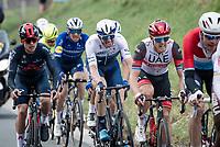 Matteo Trentin (ITA/UAE-Emirates), Sep Vanmarcke (BEL/Israel Start-Up Nation) & Tom Pidcock (GBR/Ineos Grenadiers) up the Berendries<br /> <br /> 76th Omloop Het Nieuwsblad 2021<br /> ME(1.UWT)<br /> 1 day race from Ghent to Ninove (BEL): 200km<br /> <br /> ©kramon