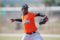 Miami Marlins pitcher Edward Cabrera (68) during a Minor League Spring Training Intrasquad game on March 27, 2018 at the Roger Dean Stadium Complex in Jupiter, Florida.  (Mike Janes/Four Seam Images)