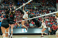 STANFORD, CA - NOVEMBER 18: Stanford, CA November 15, 2019. The Stanford Cardinal Women's volleyball team vs USC Trojans at Maples Pavilion.  Stanford Cardinal defeats USC Trojans 3-1 during a game between University of Southern California and Stanford Volleyball W at Maples Pavilion on November 18, 2019 in Stanford, California.