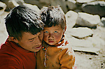 Father and son, Kyangjin village, Langtang National Park, Nepal