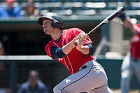 Tacoma Rainiers right fielder Cameron Perkins (27) follows through on his swing during a Pacific Coast League game against the Sacramento RiverCats at Raley Field on May 15, 2018 in Sacramento, California. Tacoma defeated Sacramento 8-5. (Zachary Lucy/Four Seam Images)