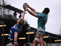 20th March 2021; Recreation Ground, Bath, Somerset, England; English Premiership Rugby, Bath versus Worcester Warriors; Andrew Kitchener of Worcester Warriors competes for the ball at the lineout with Josh McNally of Bath