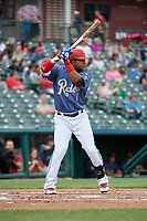 Frisco RoughRiders Elvis Andrus (1) bats during a Texas League game against the Midland RockHounds on May 21, 2019 at Dr Pepper Ballpark in Frisco, Texas.  (Mike Augustin/Four Seam Images)