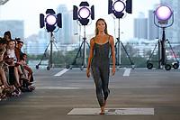MIAMI BEACH, FLORIDA - JULY 13: A model walks the runway for Acacia Resort 2020 Runway Show at Paraiso Miami Beach on July 13, 2019 in Miami Beach, Florida.<br /><br />People:  Model