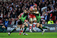 Sione Kalamafoni of Gloucester Rugby is stopped in his tracks during the European Rugby Challenge Cup semi final match between Gloucester Rugby and Exeter Chiefs at Kingsholm Stadium on Saturday 18th April 2015 (Photo by Rob Munro)