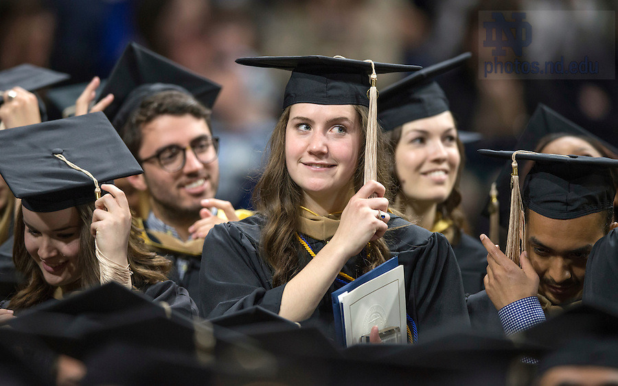 May 14, 2016; The Mendoza College of Business Graduate Business Commencement Ceremony at the Purcell Pavilion. (Photo by Barbara Johnston/University of Notre Dame)