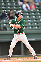 First baseman Branden Berry (35) of the Greensboro Grasshoppers bats in a game against the Greenville Drive on Tuesday, April 25, 2017, at Fluor Field at the West End in Greenville, South Carolina. Greenville won, 5-1. (Tom Priddy/Four Seam Images)