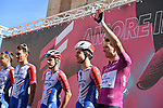 Maglia Ciclamino French Champion Arnaud Demare (FRA) and Groupama-FDJ at sign on before the start of Stage 7 of the 103rd edition of the Giro d'Italia 2020 running 143km from Matera to Brindisi, Sicily, Italy. 9th October 2020.  <br /> Picture: LaPresse/Gian Mattia D'Alberto | Cyclefile<br /> <br /> All photos usage must carry mandatory copyright credit (© Cyclefile | LaPresse/Gian Mattia D'Alberto)