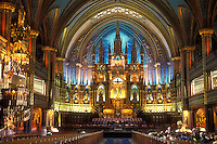 AJ0821, Canada, Quebec, Montreal, cathedral, The magnificent sanctuary of the Basilica of Notre Dame in Vieux Montreal.