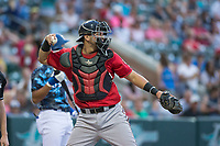 Billings Mustangs catcher Pabel Manzanero (47) during a Pioneer League game against the Ogden Raptors at Lindquist Field on August 17, 2018 in Ogden, Utah. The Billings Mustangs defeated the Ogden Raptors by a score of 6-3. (Zachary Lucy/Four Seam Images)