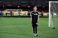 Wednesday 26 February 2014<br /> Pictured: Manager Garry Monk on the pitch before the press conference<br /> Re: Swansea City FC press conference and training at San Paolo in Naples Italy for their UEFA Europa League game against Napoli.