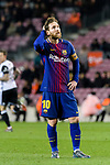 Lionel Messi of FC Barcelona reacts during the Copa Del Rey 2017-18 match between FC Barcelona and Valencia CF at Camp Nou Stadium on 01 February 2018 in Barcelona, Spain. Photo by Vicens Gimenez / Power Sport Images