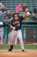 Roberto Ramos (44) of the Albuquerque Isotopes bats against the Salt Lake Bees at Smith's Ballpark on April 24, 2019 in Salt Lake City, Utah. The Isotopes defeated the Bees 5-4. (Stephen Smith/Four Seam Images)