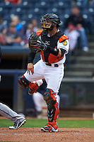 Akron RubberDucks catcher Tony Wolters (1) throws out Pat Valaika (not pictured) attempting to steal second for the final out of a game against the New Britain Rock Cats on May 21, 2015 at Canal Park in Akron, Ohio.  Akron defeated New Britain 4-2.  (Mike Janes/Four Seam Images)