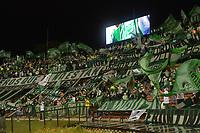 MEDELLIN - COLOMBIA, 24-07-2021: Hinchas de Nacional animan a su equipo durante partido por la fecha 2 de la Liga BetPlay DIMAYOR II 2021 entre Atlético Nacional y Deportes Tolima jugado en el estadio Atanasio Girardot de la ciudad de Medellín. / Fans of Nacional cheer for their team during match for the date 2 as part of BetPlay DIMAYOR League II 2021 between Atletico Nacional and Deportes Tolima played at Atanasio Girardot stadium in Medellín city. Photo: VizzorImage / Luis Benavides / Cont