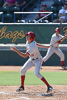 Craig Dedelow #39 of the Indiana Hoosiers bats against the Long Beach State Dirtbags at Blair Field on March 15, 2014 in Long Beach, California. Indiana defeated Long Beach State 2-1. (Larry Goren/Four Seam Images)