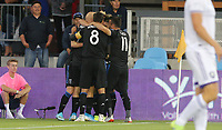 SAN JOSE, CA - AUGUST 31: San Jose Earthquakes goal celebration during a Major League Soccer (MLS) match between the San Jose Earthquakes and the Orlando City SC  on August 31, 2019 at Avaya Stadium in San Jose, California.
