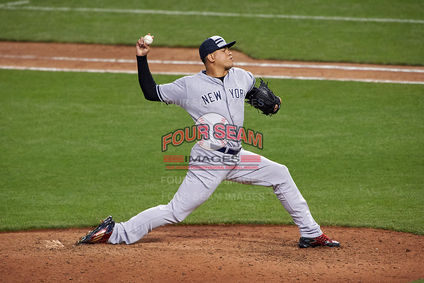 New York Yankees pitcher Dellin Betances during the MLB All-Star Game on July 14, 2015 at Great American Ball Park in Cincinnati, Ohio.  (Mike Janes/Four Seam Images)