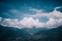 heavy clouds above the start town of Riva del Garda <br /> <br /> stage 17: Riva del Garda - Iseo (155 km)<br /> 101th Giro d'Italia 2018