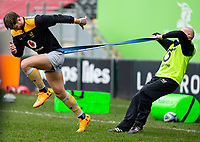 20th February 2021; Welford Road Stadium, Leicester, Midlands, England; Premiership Rugby, Leicester Tigers versus Wasps; Josh Bassett of Wasps on his 100th senior appearance for the club being held back with a bungee cord during the warm up