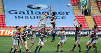 20th February 2021; Welford Road Stadium, Leicester, Midlands, England; Premiership Rugby, Leicester Tigers versus Wasps; A high ball during a Leicester Tigers line out