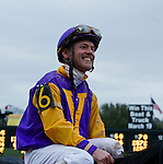 Jon Court smiles after riding Archarcharch (6) to victory in the 46th running of the Southwest Stakes at Oaklawn Park in Hot Springs, Arkansas.