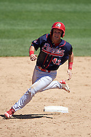 Peoria Chiefs second baseman Dylan Tice (43) running the bases during the first game of a doubleheader against the South Bend Cubs on July 25, 2016 at Four Winds Field in South Bend, Indiana.  South Bend defeated Peoria 9-8.  (Mike Janes/Four Seam Images)