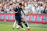 KANSAS CITY, KS - AUGUST 10: Jaylin Lindsey #2 Sporting KC with the ball during a game between Club Leon and Sporting Kansas City at Children's Mercy Park on August 10, 2021 in Kansas City, Kansas.