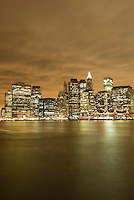Lower Manhattan Financial District Skyline, Illuminated at Dusk with Overcast Sky, New York City, New York State, USA