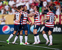 Alex Morgan, Sydney Leroux, Heather O'Reilly, Amy Rodriguez.  The USWNT defeated Costa Rica, 8-0, during a friendly match at Sahlen's Stadium in Rochester, NY.