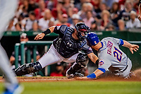 21 September 2018: Washington Nationals catcher Spencer Kieboom gets New York Mets third baseman Todd Frazier out at the plate for the 3rd out in the 3rd inning at Nationals Park in Washington, DC. The Mets defeated the Nationals 4-2 in the second game of their 4-game series. Mandatory Credit: Ed Wolfstein Photo *** RAW (NEF) Image File Available ***