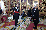 King Felipe VI of Spain meets Colombian Republic Ambassador Alberto Jacobo Furmanski Goldstein at Royal Palace in Madrid, Spain. December 16, 2015. (ALTERPHOTOS/Victor Blanco)