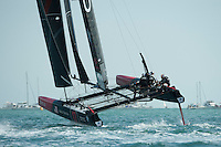 25 July 2015: Oracle Team USA take off on the downwind leg during the America's Cup first round racing off Portsmouth, England (Photo by Rob Munro)