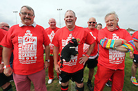 Pictured: Some of the participants in Cardiff, Wales, UK. Wednesday 24 August 2016<br />Re: The largest rugby scrum has been achieved by Golden Oldies at University Fields in Cardiff south Wales, UK. It was refereed by welsh international referee Nigel Owens. Guinness World Records has verified the new record in which 1297 people took part in.