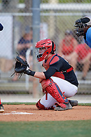 Kurtis Byrne during the WWBA World Championship at the Roger Dean Complex on October 19, 2018 in Jupiter, Florida.  Kurtis Byrne is a catcher from Chesterfield, Missouri who attends Christian Brothers College and is committed to TCU.  (Mike Janes/Four Seam Images)