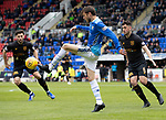 St Johnstone v Livingston….04.05.19      McDiarmid Park        SPFL<br />Murray Davidson is closed down by Rickie Lamie and Shaun Byrne<br />Picture by Graeme Hart. <br />Copyright Perthshire Picture Agency<br />Tel: 01738 623350  Mobile: 07990 594431