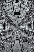 The Arcade in Cleveland, Ohio, a landmark shopping and mercantile center dating from 1890, was one of the first indoor shopping centers in America.  The Arcade currently has shops on the lower levels, with the upper floors converted for use by the Hyatt Regency Cleveland hotel.