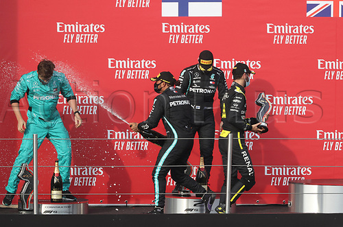 1st November 2020, Imola, Italy; FIA Formula 1 Grand Prix Emilia Romagna, Race Day;  On the podium winner Lewis Hamilton GB 44 , Mercedes AMG Petronas F1 Team, 2nd place for Valtteri Bottas FIN 77 , Mercedes AMG Petronas F1 Team, 3rd place for Daniel Ricciardo AUS 3 , Renault DP World F1 Team