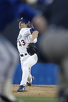 Andy Ashby of the Los Angeles Dodgers pitches during a 2002 MLB season game at Dodger Stadium, in Los Angeles, California. (Larry Goren/Four Seam Images)