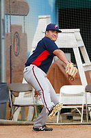 Potomac Nationals pitcher Nick Raquet (22) throwing in the bullpen before a game against the Myrtle Beach Pelicans at Ticketreturn.com Field at Pelicans Ballpark on July 1, 2018 in Myrtle Beach, South Carolina. Myrtle Beach defeated Potomac 6-1. (Robert Gurganus/Four Seam Images)
