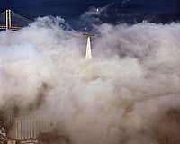 aerial photograph of the TransAmerica Pyramid in the fog, San Francisco, California
